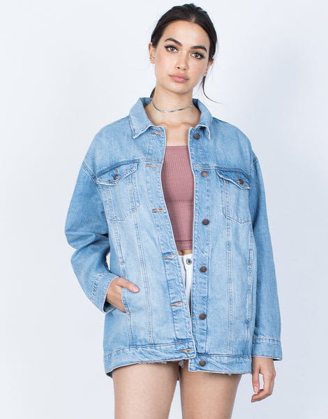 girl gang denim jacket  light blue denim jacket