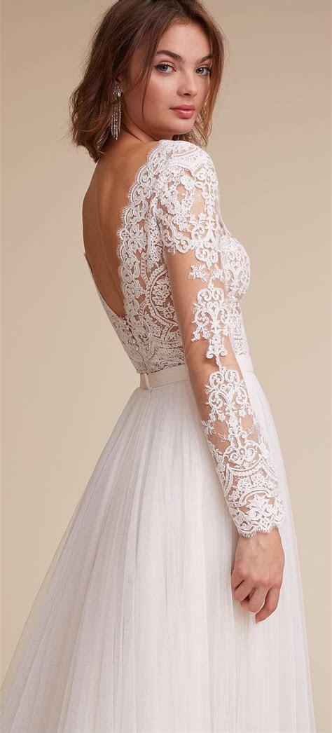 Long sleeve lace wedding dress by BHLDN   Wedding Dresses
