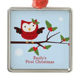 Cute Owl First Christmas Custom Ornament ornament
