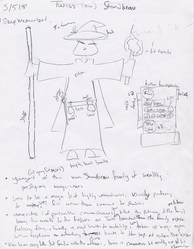 AD&D Character Sketch/Inventory Diagram: Twiss, magic-user