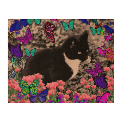 Freckles in Butterflies III, Tux Kitty Cat Cork Paper Print