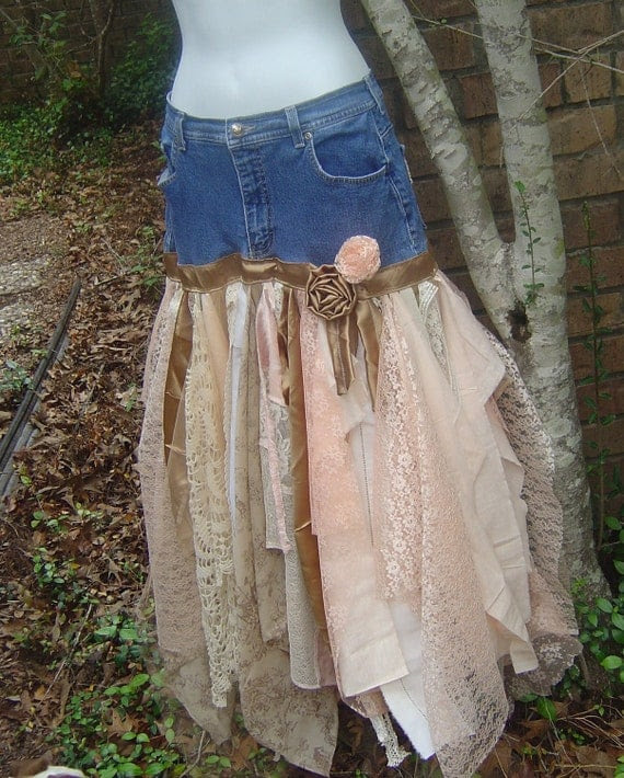 Price Reduced. Funky, Tattered, Romantic Boot Scootin Skirt