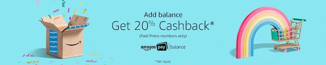 Add balance into Amazon Account and get 20% cashback (For Prime Members)