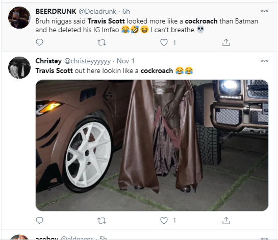 "Travis Scott deactivates his Instagram after fans compared him to a ""cockroach"" over his Batman costume for Halloween"