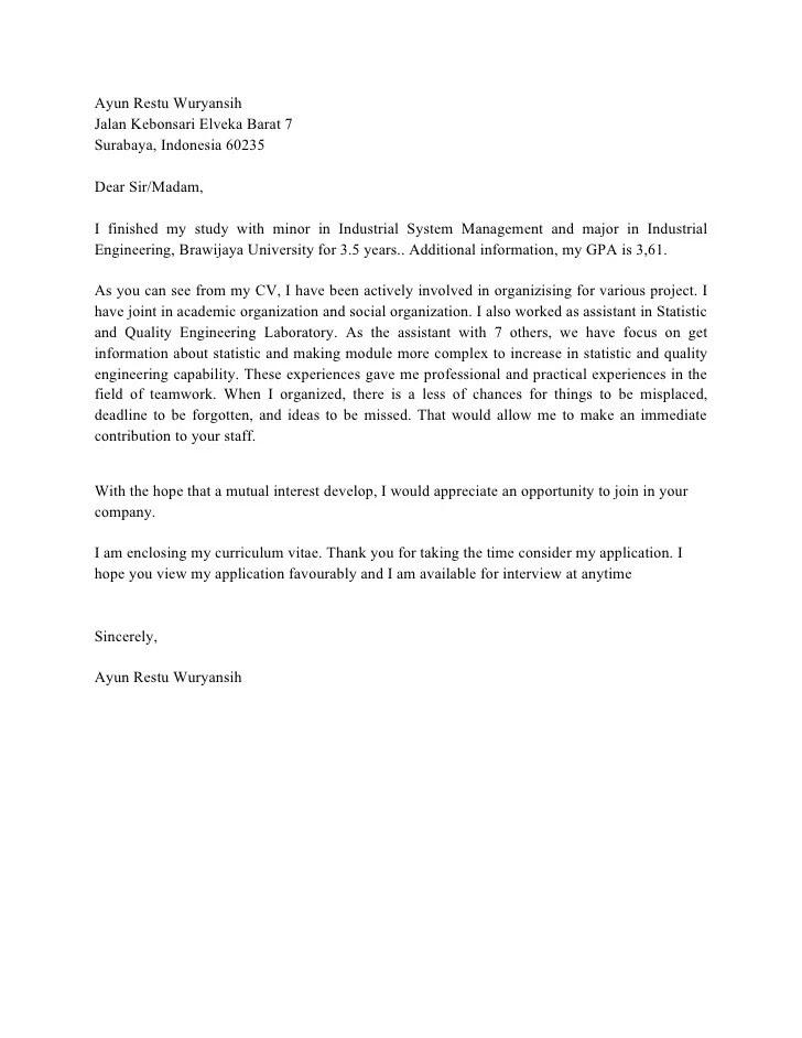 Dalam Bahasa Melayu Contoh Cover Letter Resume 100 Cover Letter Samples