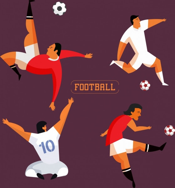 Ikon Pemain Sepak Bola Gerakan Berbagai Berwarna Kartun Vektor Misc