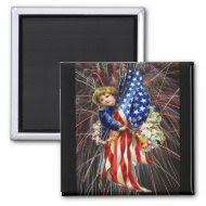 Vintage Patriotic Child and Fireworks Magnet
