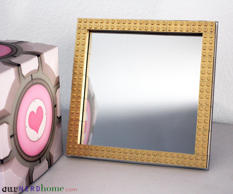 Quick Diy Project Gold Lego Mirror Frame Our Nerd Home