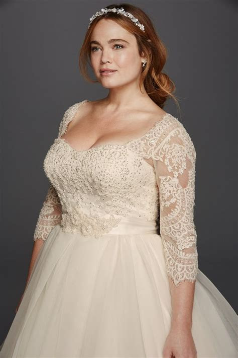 Oleg Cassini Plus Size three quarter lace sleeves and a