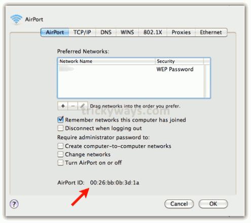 Mac Address on Mac OS X