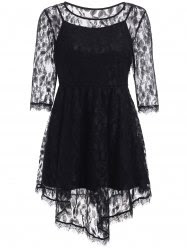 Elegant See-Through Asymmetric Half Sleeve Lace Dress