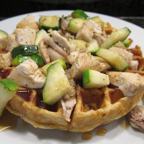 Chicken & Sweet Corn Waffles with Maple Gastrique