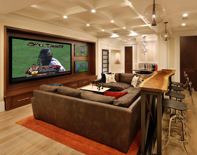 Family Room, Home Theater and Bar - contemporary - media room ...
