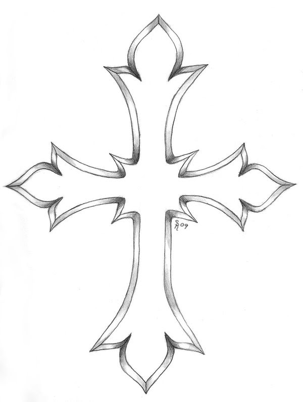 Outline Cross Tattoo Design