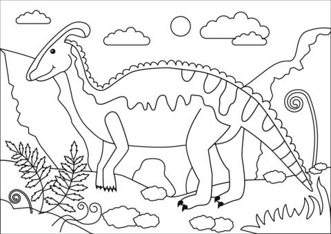 Ausmalbild Parasaurolophus Dinosaurier Ausmalbilder Kostenlos Zum Ausdrucken
