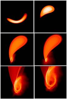 Interacción de una enana blanca con un agujero negro