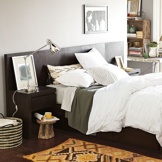 Storage-Bed Headboard, Chocolate - modern - beds - by West Elm