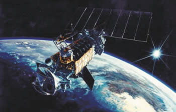 artist's rendering of a DMSP satellite