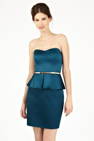 Oasis Satin Peplum Bandeau Dress