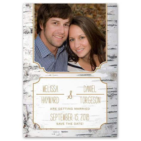Birch Bark Frame Save the Date Card   Ann's Bridal Bargains