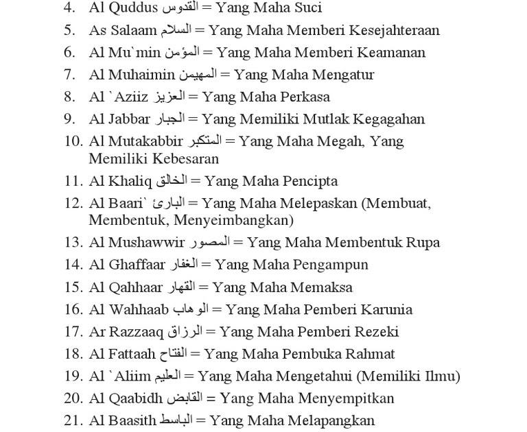 Teks Asmaul Husna Latin - Ini Arti Dan Makna Asmaul Husna Ar Rahman Ar Rahim Dan Al Malik ...