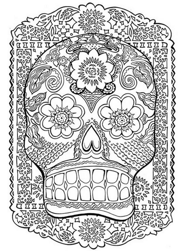 Coloriage Adulte Tete De Mort Ancenscp