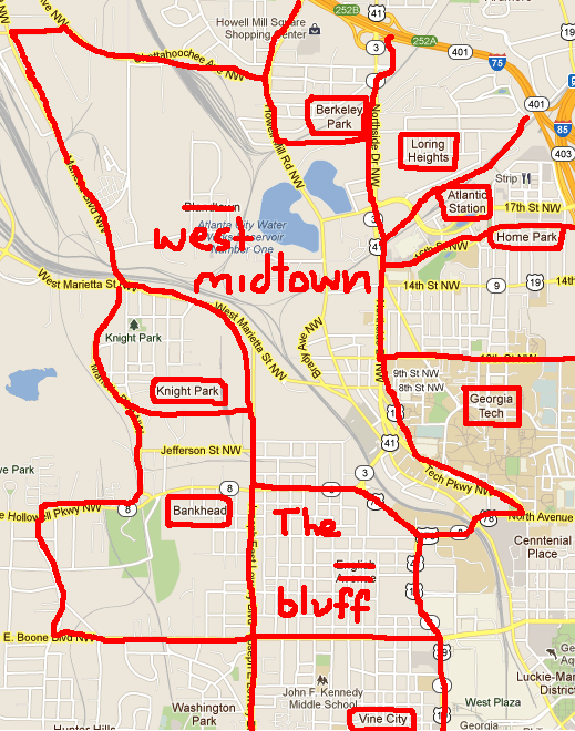 The Bluff Atlanta Map The Bluff Atlanta Map | Color 2018