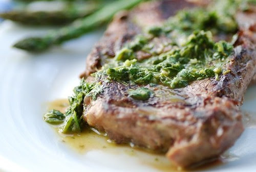 ribe eye with chimichurri sauce