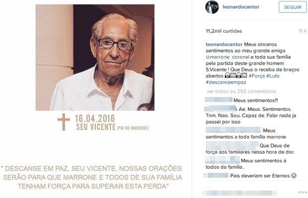 Cantor Leonardo também lamentou a morte do pai de Marrone em uma rede social, Goiás (Foto: Reprodução/Instagram)