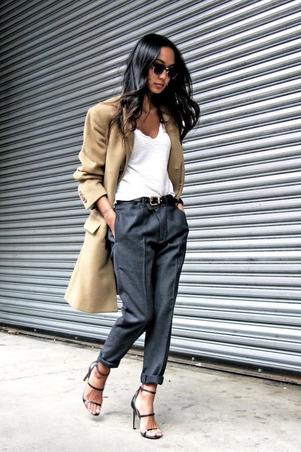 Le Fashion Blog Fall Work Style Office Look Camel Blazer White Tee Leather Belt Grey Trousers Strappy Buckled Heeled Sandals Via Linh Niller