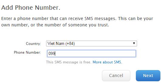 thêm số điện thoại bảo mật tài khoản Appleid