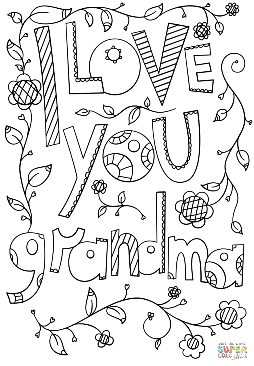 I Love You Grandma Doodle coloring page | Free Printable ...