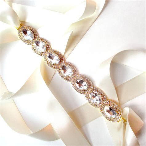 Exquisite Bridal Belt Sash In GOLD   Custom Ribbon   White