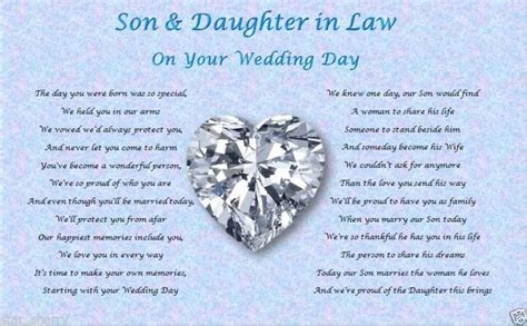 SON & DAUGHTER IN LAW  Wedding Day (Poem gift)   Wedding