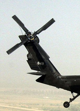 A US Army Blackhawk helicopter