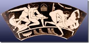 Greek orgy on a vase