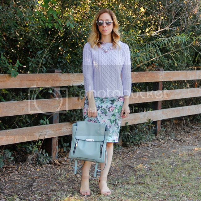 Fashion blogger The Key To Chic wears a Zara cable knit sweater with a Foreign Exchange floral pencil skirt and Mossimo zipped backpack.