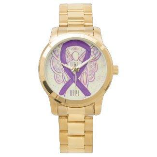 Time to Hope Purple Awareness Ribbon Angel Watch