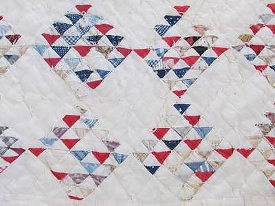 Detail, Antique c1880 Small Triangles Cutter Quilt Red White Blue | eBay, vintageblessings