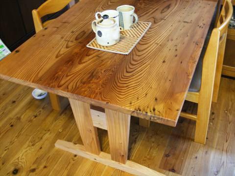 杉の虫食いテーブル