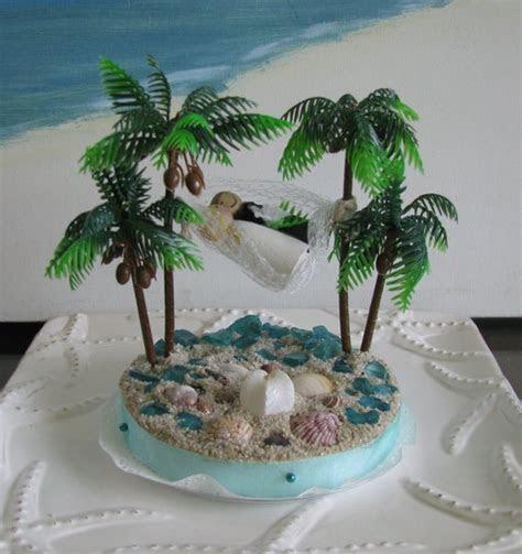 Hammock Palm Trees Beach Wedding Cake Topper Seashell Beach