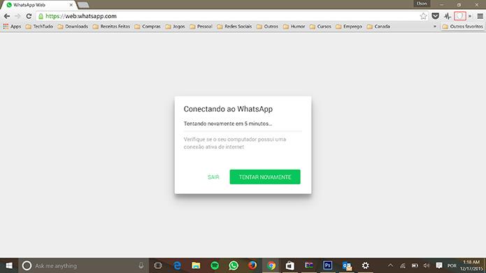WhatsApp Web pode voltar a funcionar no Brasil com VPN (Foto: Reprodução/Elson de Souza)