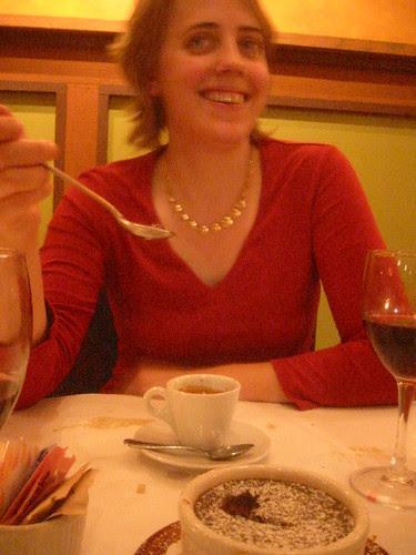 Happy Val with dessert