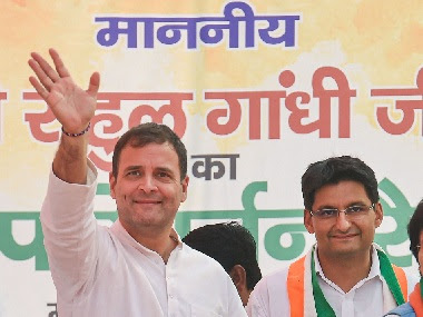 Congress leader Rahul Gandhi at a campaign rally in Nuh district of Haryana. PTI