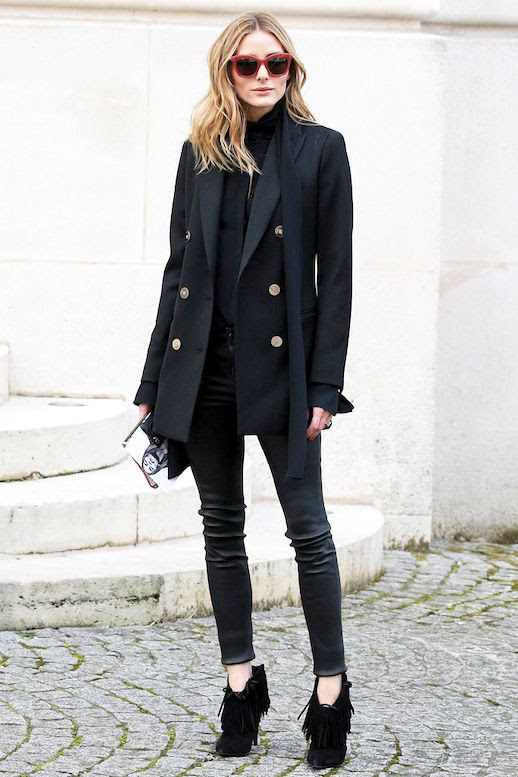 Le Fashion Blog Nyfw Olivia Palermo Red Sunglasses Skinny Scarf Black Military Jacket Leather Pants Fringed Booties Via Popsugar