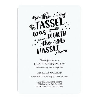 Trendy Text Graduation Invitation