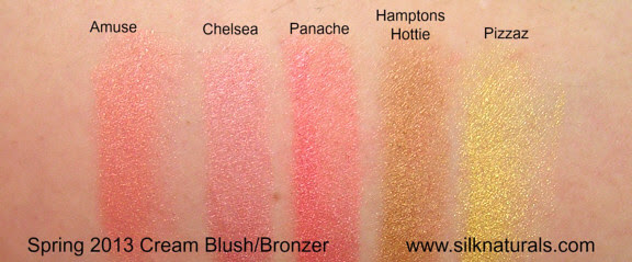 silk naturals cream blush and bronzer swatches