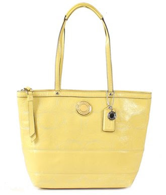Coach Purse Yellow Leather