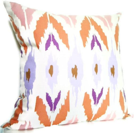 Bohemian Decorative Pillows Tribal Pillows Ikat Pillows  Purple, light purple, pink, Coral, and Cream Colors Living Room Pillows.