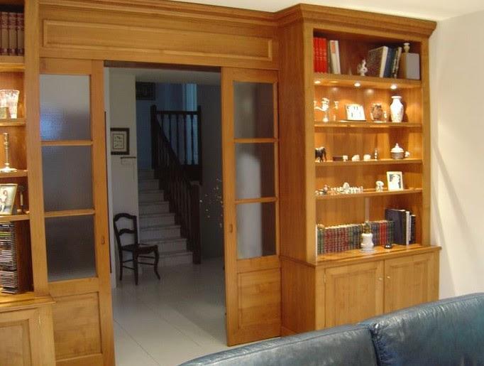 librerie su misura in legno porta scorrevole trento